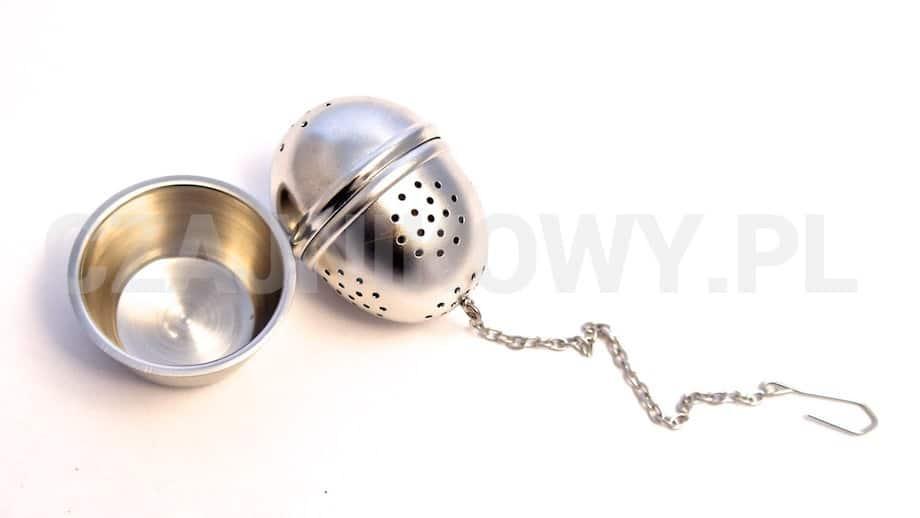 Metalowy zaparzacz do herbaty Jajko klasyczny. Z podstawką.