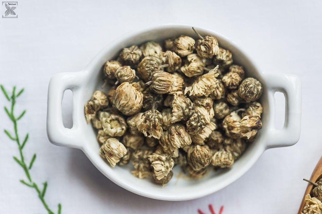 Herbata ze złocienia, Chrysanthemum tea: Suszone kwiatki złocienia