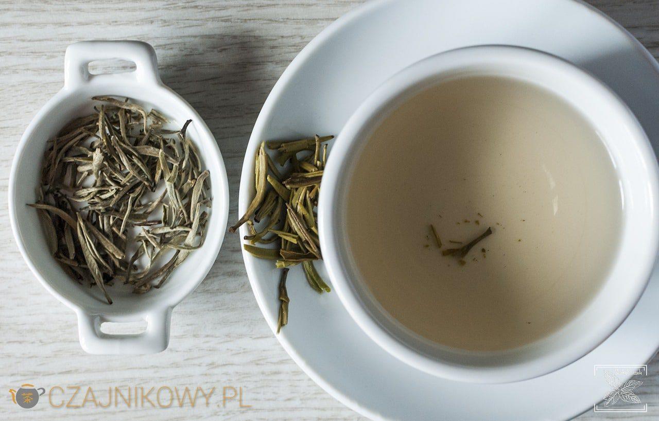 Herbata biała Yin Zhen parzona na zimno i klasycznie, zaparzona