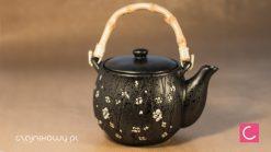 Czajnik do herbaty i 4 czarki, czarny kwiatowy