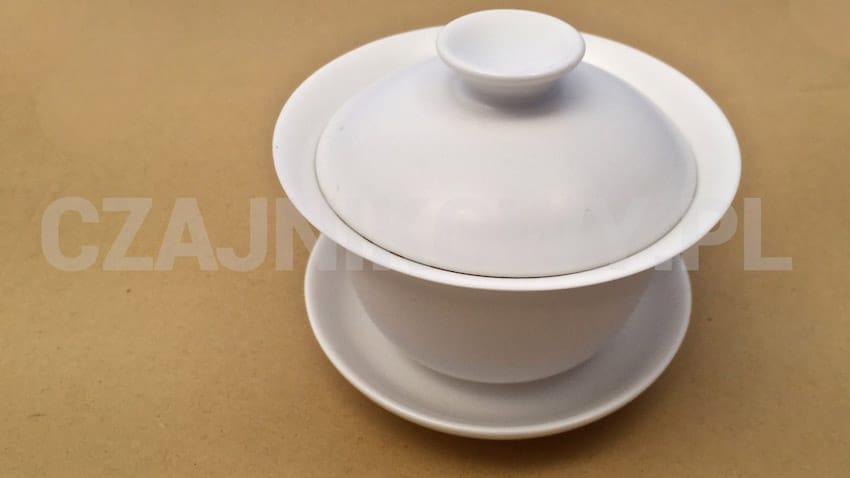 Gaiwan biały do herbaty ceramiczny klasyczny