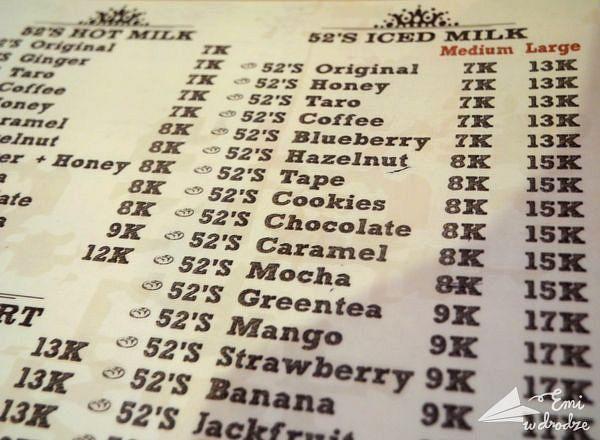 Menu kawiarni serwującej tylko mleko