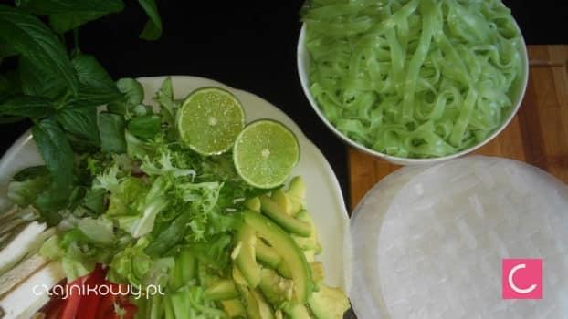 Przepis na Spring Rolls z zielonym makaronem z herbatą Matcha