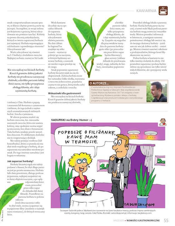 Nowości Gastronomiczne, wrzesień 2015 tekst o herbacie dla kawiarni