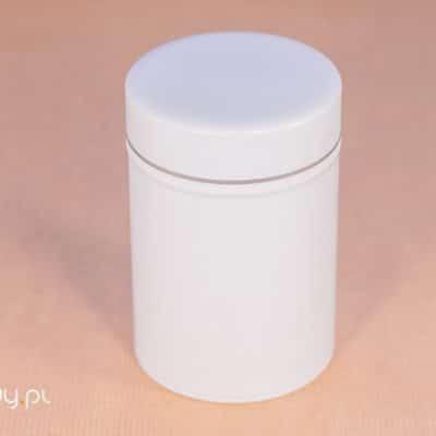 Puszka na herbatę biała 150g podwójne zamknięcie