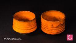 Czajnik do herbaty Orange Black + 2 czarki ceramika artystyczna