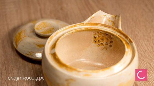 Hohin do herbaty żółty porcelana 250 ml ceramika artystyczna