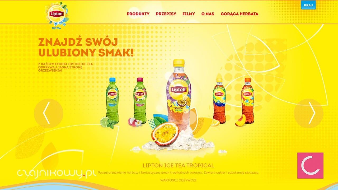 Zawartość cukru w Lipton / zrzut strony Lipton
