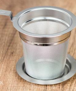 Zaparzacz sitko do herbaty metalowy z podstawką 7 cm