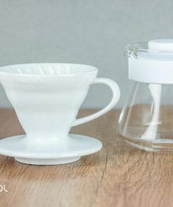 Zestaw do parzenia kawy Hario V60-01 biały