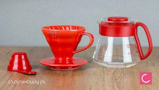 Zestaw do parzenia kawy Hario V60-01 czerwony