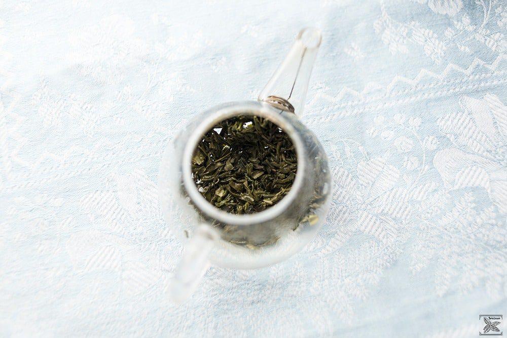Herbata zielona Lu An Gua Pian: liście herbaty po parzeniu