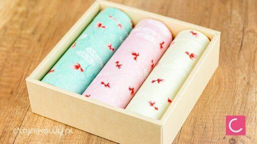 Zestaw trzech japońskich puszek na herbatę