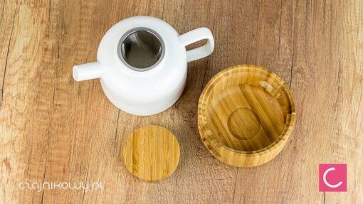 Zestaw do parzenia herbaty porcelanowy bambusowy Thijs sitko