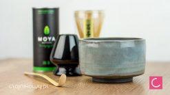 Zestaw do herbaty: matcha, matchawan, chasen, chashaku, stojak