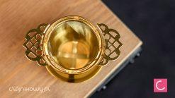 Zaparzacz sitko do herbaty złoty z podstawką 5,5 cm