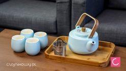 Zestaw do parzenia herbaty Beppo: czajnik, czarki, taca bambusowa