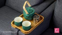 Zestaw do parzenia herbaty Petula: czajnik, czarki, taca bambusowa