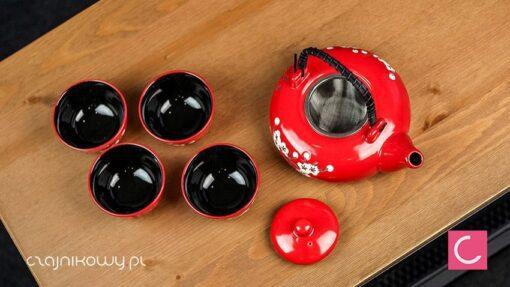Czajnik do herbaty Floris czerwony 0,6l + 4 czarki