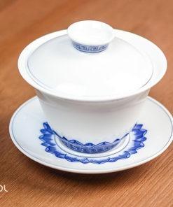 Gaiwan do herbaty biały z niebieskim wzorem 130ml