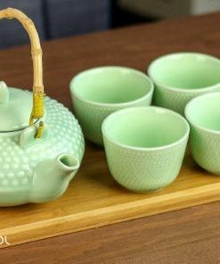 Zestaw do parzenia herbaty Tanaka zielony: czajnik, czarki, taca bambusowa