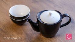 Czajnik do herbaty biało-czarny Yuzo 500ml + czarki