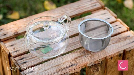 Czajnik szklany do herbaty z ogromnym sitkiem 700ml