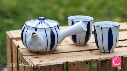 Czajnik do herbaty z dwiema czarkami w paski 350ml