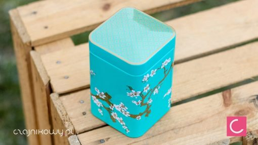 Puszka na herbatę sakura turkusowa 100g