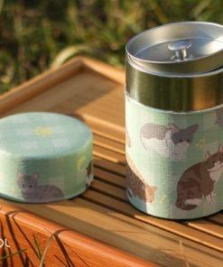 Puszka na herbatę japońska w kotki 70g