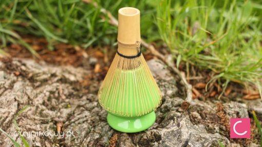 Porcelanowy stojak na miotełkę Chasen do Matcha zielony