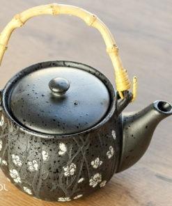 Czajnik do herbaty i 4 czarki, czarny kwiatowy 600ml