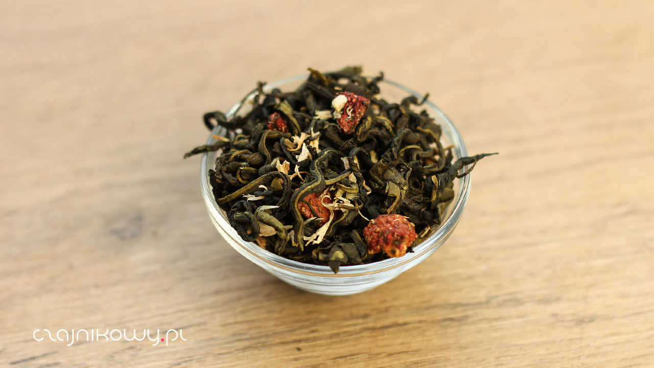 Herbata zielona truskawkowa z rabarbarem