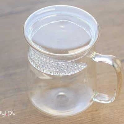 Szklany kubek do parzenia herbaty z sitkiem 490ml